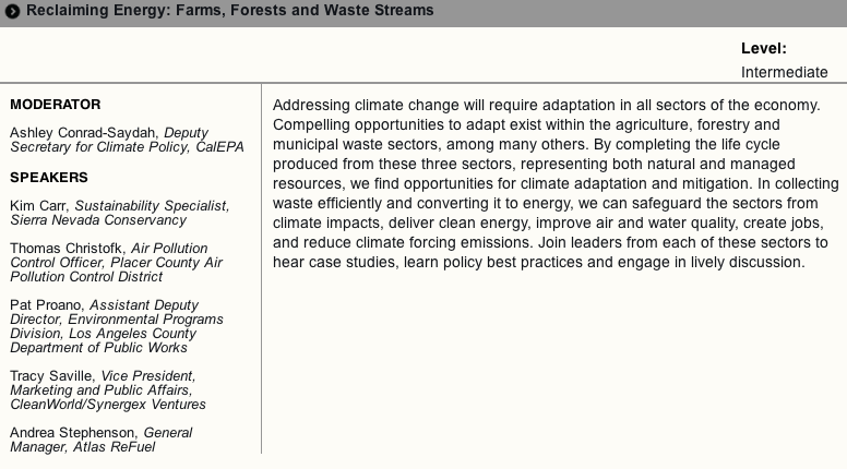 CleanWorld's panel at the CA Adaptation Forum, August 20th at 1:30.